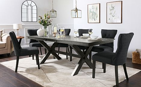 Grange Grey Wood Extending Dining Table with 8 Bewley Slate Fabric Chairs