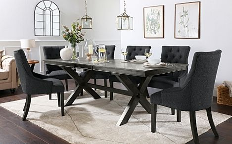 Grange Grey Wood Extending Dining Table with 8 Duke Slate Fabric Chairs