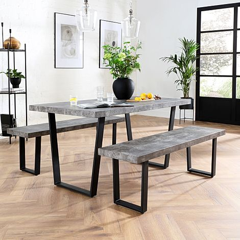 Addison Concrete Dining Table and 2 Benches