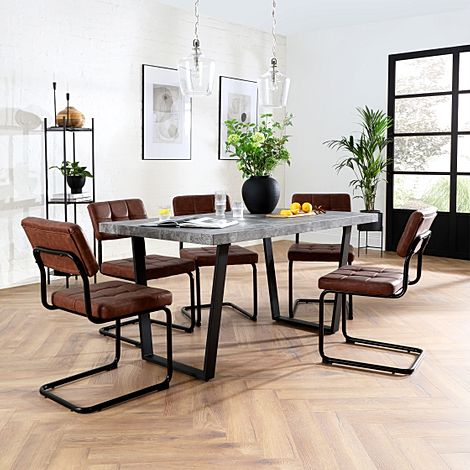 Addison Concrete Dining Table with 4 Carter Tan Leather Chairs