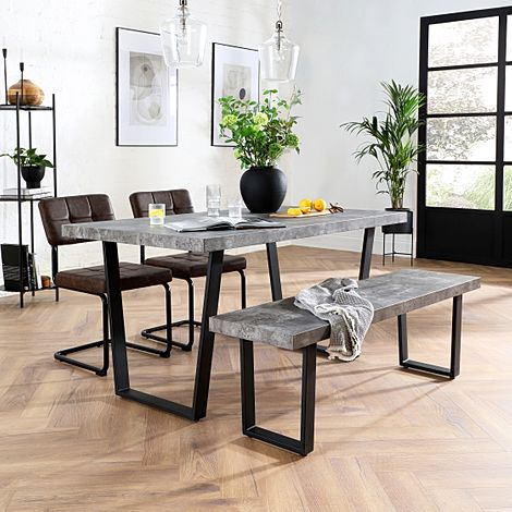 Addison Concrete Dining Table and Bench with 4 Carter Vintage Brown Leather Chairs