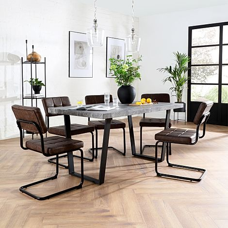Addison Concrete Dining Table with 6 Carter Vintage Brown Leather Chairs
