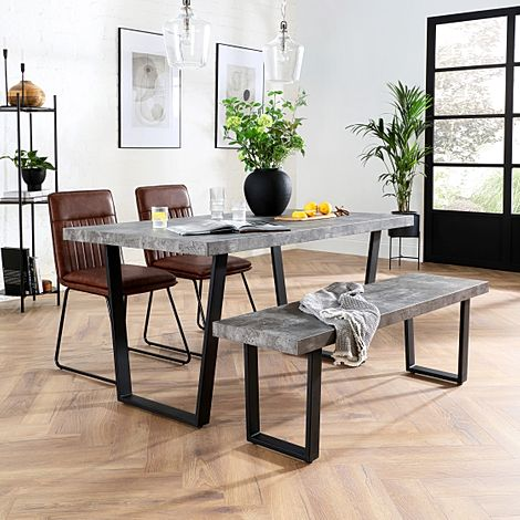 Addison Concrete Dining Table and Bench with 2 Flint Tan Leather Chairs