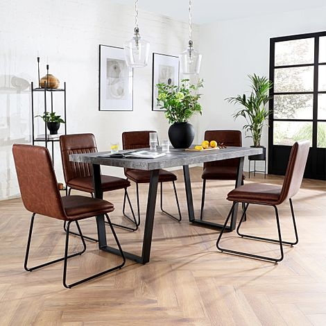 Addison Concrete Dining Table with 4 Flint Tan Leather Chairs