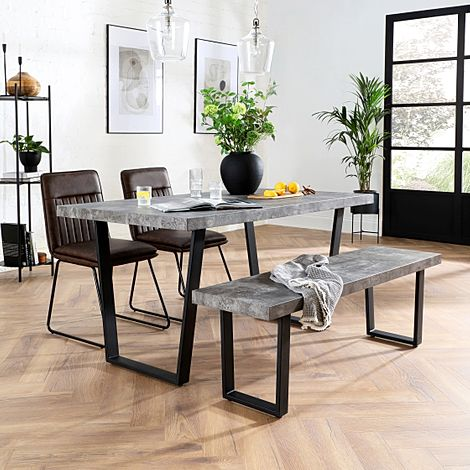 Addison Concrete Dining Table and Bench with 4 Flint Vintage Brown Leather Chairs