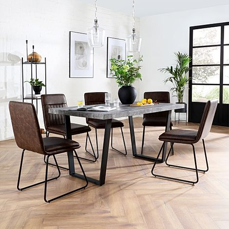 Addison Concrete Dining Table with 6 Flint Vintage Brown Leather Chairs
