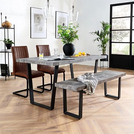 Addison Concrete Dining Table and Bench with 2 Perth Tan Leather Chairs