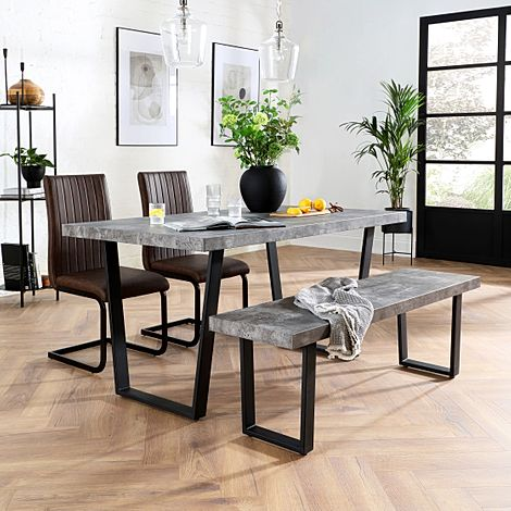 Addison Concrete Dining Table and Bench with 4 Perth Vintage Brown Leather Chairs
