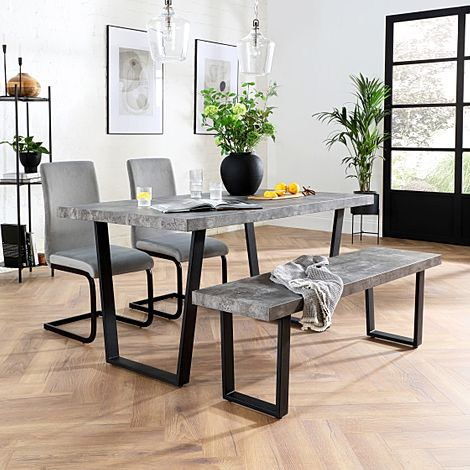 Addison Concrete Dining Table and Bench with 2 Perth Grey Velvet Chairs (Black Legs)