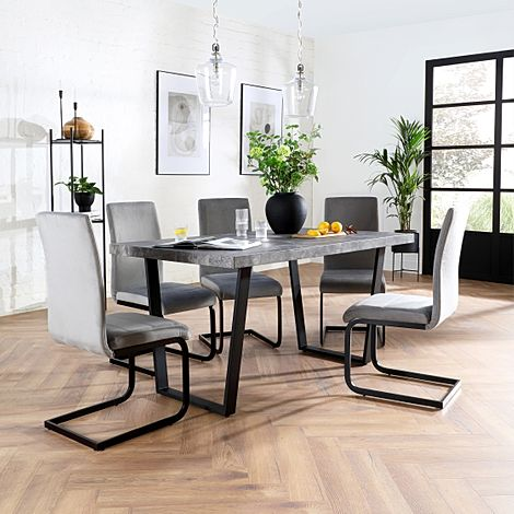 Addison Concrete Dining Table with 6 Perth Grey Velvet Chairs (Black Legs)