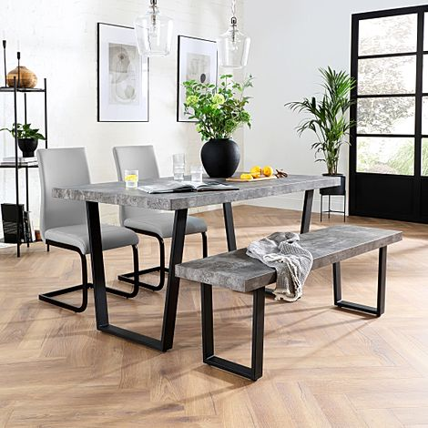 Addison Concrete Dining Table and Bench with 2 Perth Light Grey Leather Chairs (Black Legs)