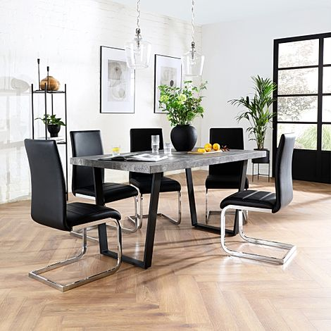 Addison 150cm Concrete Dining Table with 6 Perth Black Leather Chairs