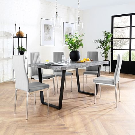 Addison Concrete Dining Table with 4 Leon Light Grey Leather Chairs