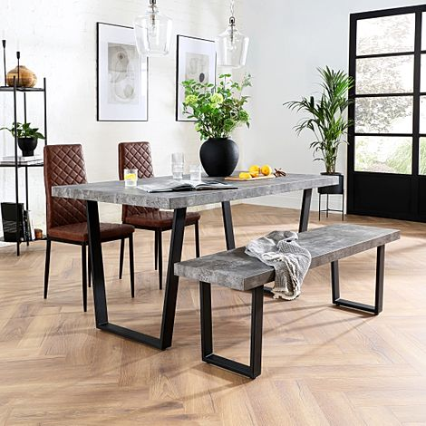 Addison Concrete Dining Table and Bench with 4 Renzo Tan Leather Chairs