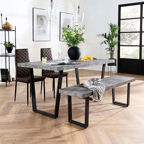 Addison Concrete Dining Table and Bench with 2 Renzo Vintage Brown Leather Chairs