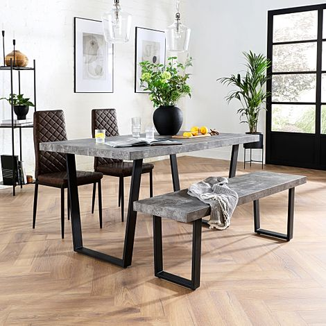 Addison 150cm Concrete Dining Table and Bench with 4 Renzo Vintage Brown Leather Chairs