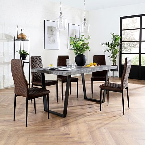 Addison Concrete Dining Table with 6 Renzo Vintage Brown Leather Chairs