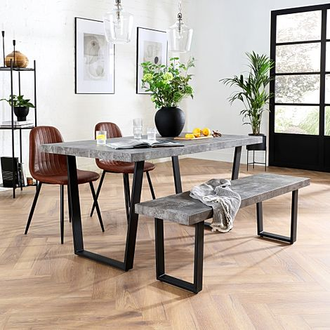 Addison Concrete Dining Table and Bench with 2 Brooklyn Tan Leather Chairs