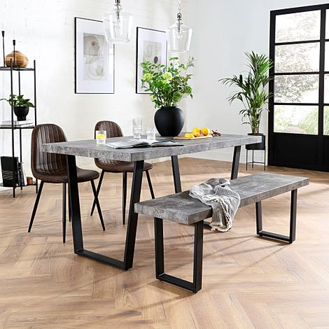 Addison Concrete Dining Table and Bench with 4 Brooklyn Vintage Brown Leather Chairs