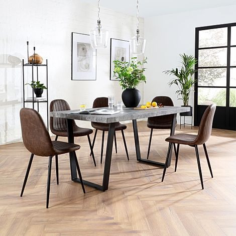 Addison Concrete Dining Table with 4 Brooklyn Vintage Brown Leather Chairs