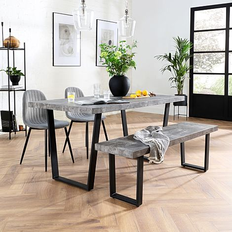 Addison Concrete Dining Table and Bench with 4 Brooklyn Grey Velvet Chairs