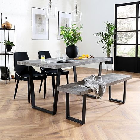 Addison Concrete Dining Table and Bench with 2 Modena Black Fabric Chairs