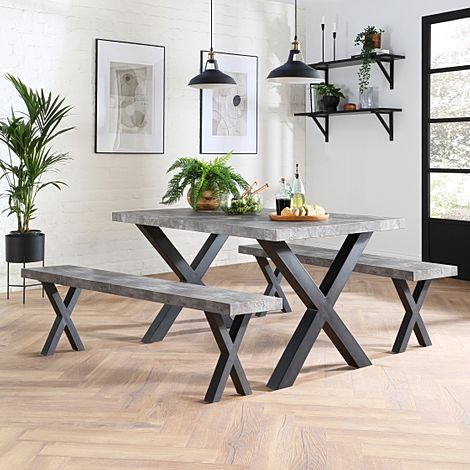Franklin Concrete Dining Table and 2 Benches