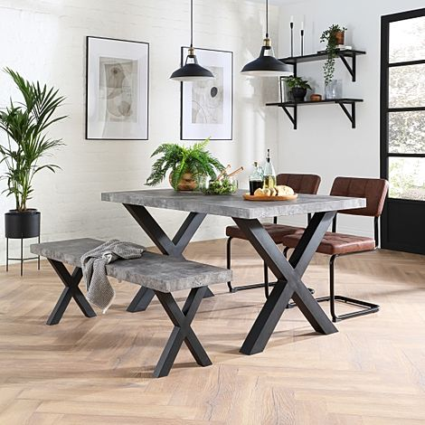 Franklin Concrete Dining Table and Bench with 2 Carter Tan Leather Chairs