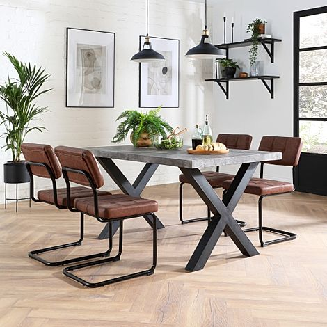 Franklin Concrete Dining Table with 4 Carter Tan Leather Chairs