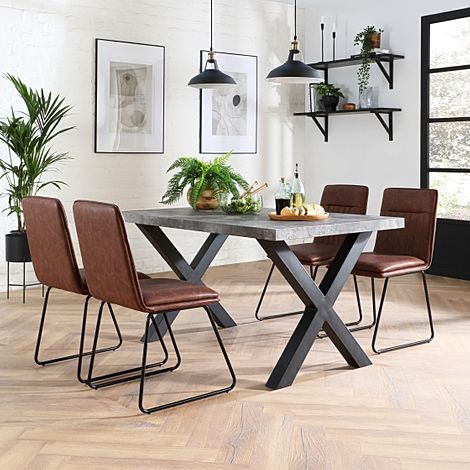 Franklin Concrete Dining Table with 4 Flint Tan Leather Chairs