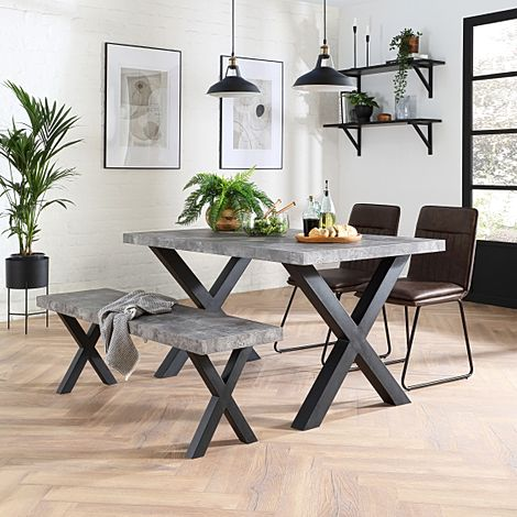 Franklin Concrete Dining Table and Bench with 2 Flint Vintage Brown Leather Chairs