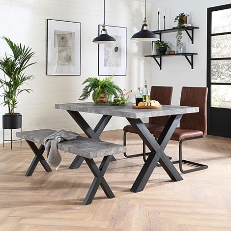 Franklin Concrete Dining Table and Bench with 2 Perth Tan Leather Chairs