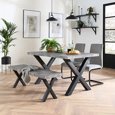 Franklin Concrete Dining Table and Bench with 2 Perth Grey Velvet Chairs (Black Legs)