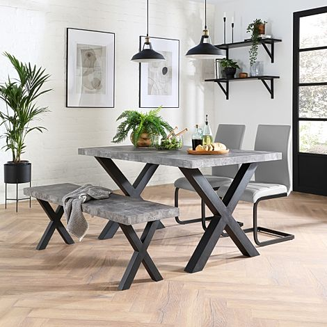 Franklin Concrete Dining Table and Bench with 2 Perth Light Grey Leather Chairs (Black Legs)