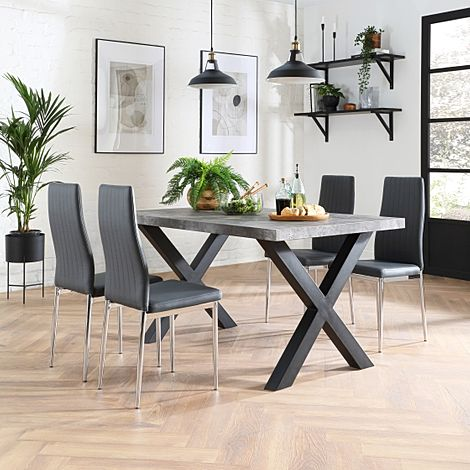 Franklin Concrete Dining Table with 4 Leon Grey Leather Chairs