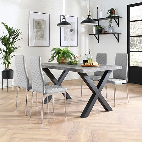 Franklin Concrete Dining Table with 4 Renzo Light Grey Leather Chairs