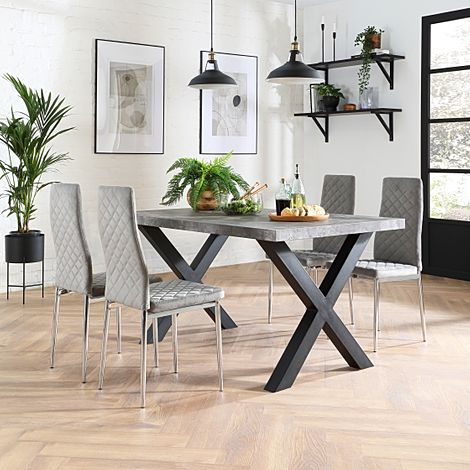 Franklin 150cm Concrete Dining Table with 4 Renzo Grey Velvet Chairs