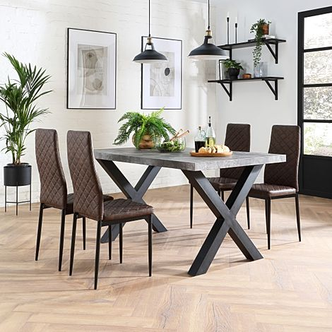 Franklin Concrete Dining Table with 4 Renzo Vintage Brown Leather Chairs