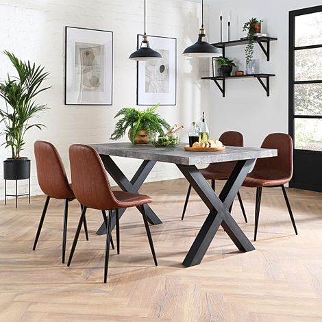 Franklin Concrete Dining Table with 4 Brooklyn Tan Leather Chairs