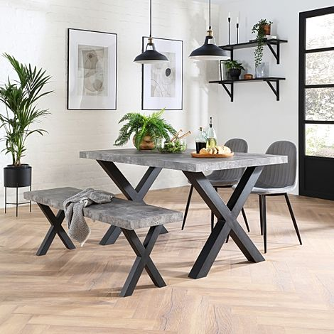 Franklin Concrete Dining Table and Bench with 2 Brooklyn Grey Velvet Chairs