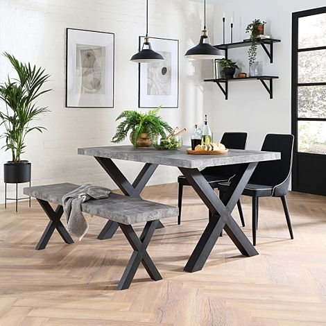 Franklin Concrete Dining Table and Bench with 2 Modena Black Fabric Chairs