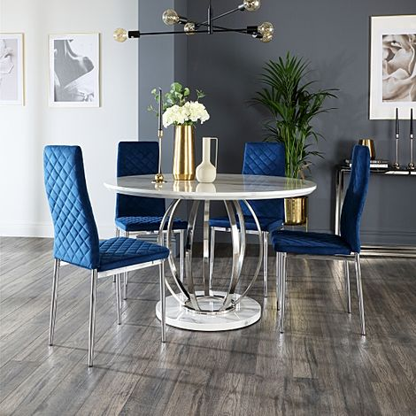 Savoy Round White Marble and Chrome Dining Table with 4 Renzo Blue Velvet Chairs