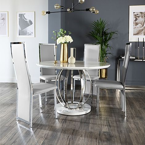 Savoy Round White Marble and Chrome Dining Table with 4 Celeste Light Grey Leather Chairs