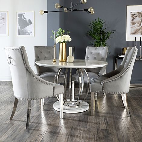 Savoy Round White Marble and Chrome Dining Table with 4 Imperial Grey Velvet Dining Chairs