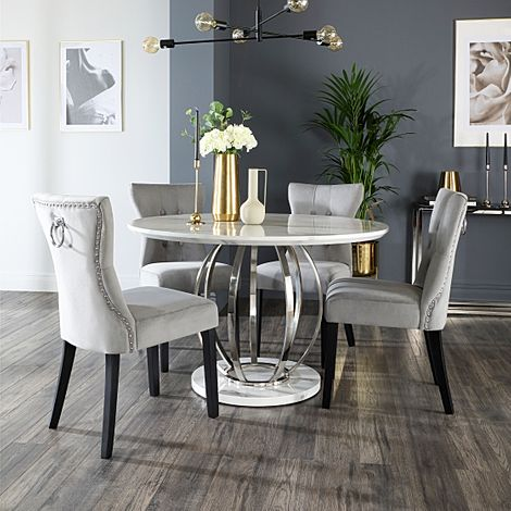 Savoy Round White Marble and Chrome Dining Table with 4 Kensington Grey Velvet Dining Chairs