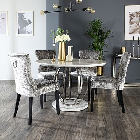 Savoy Round White Marble and Chrome Dining Table with 4 Kensington Silver Velvet Dining Chairs