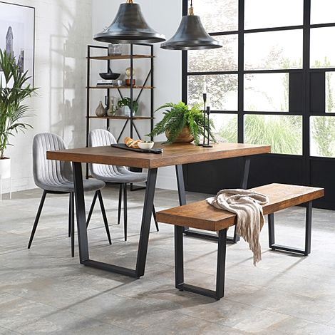 Addison Industrial Oak Dining Table and Bench with 4 Brooklyn Grey Velvet Chairs