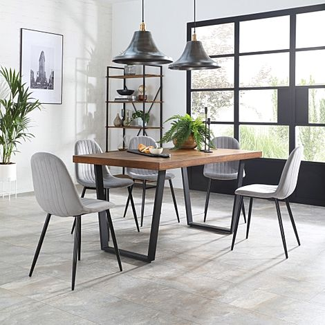 Addison Industrial Oak Dining Table with 4 Brooklyn Grey Velvet Chairs