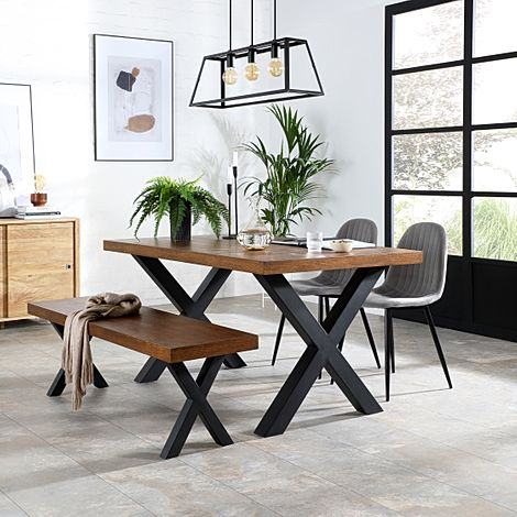Franklin Industrial Oak Dining Table and Bench with 2 Brooklyn Grey Velvet Chairs
