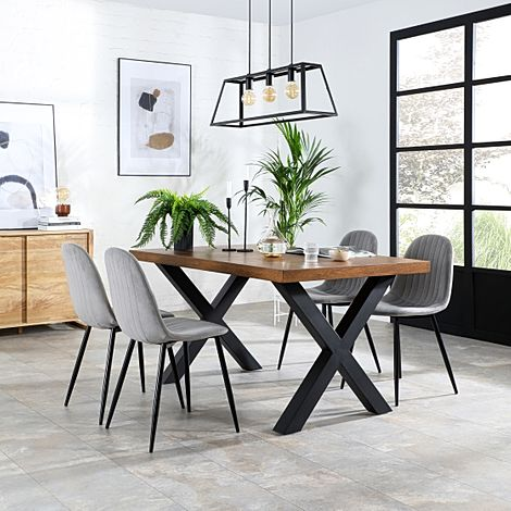 Franklin 150cm Industrial Oak Dining Table with 4 Brooklyn Grey Velvet Chairs